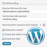 WordPress. RSS feeds output in administration panel