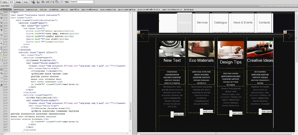 JS Animated Troubleshooter  Design mode in Dreamweaver