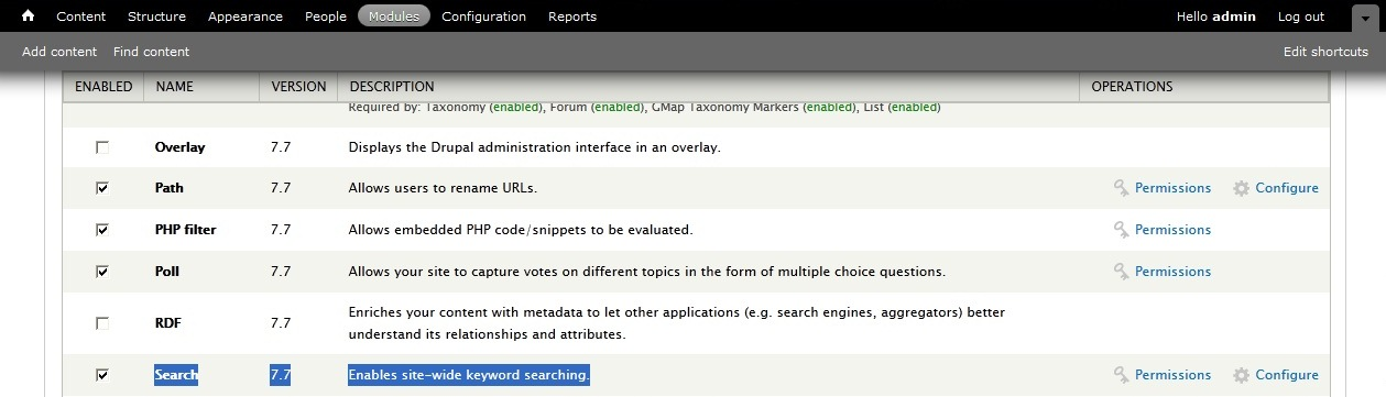 Drupal 7 x  How to enable and manage search module