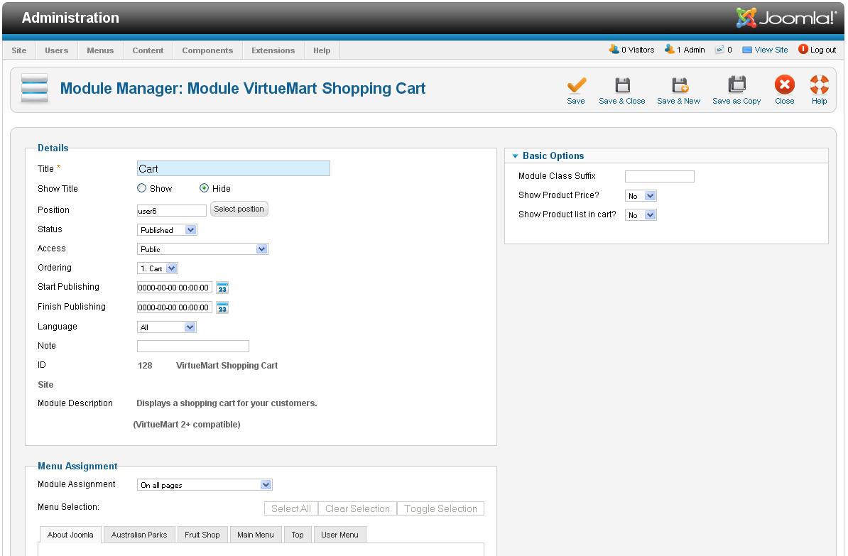 VirtueMart 2.x. Einstellungen: Warenkorb und Checkout - Hilfe von ...