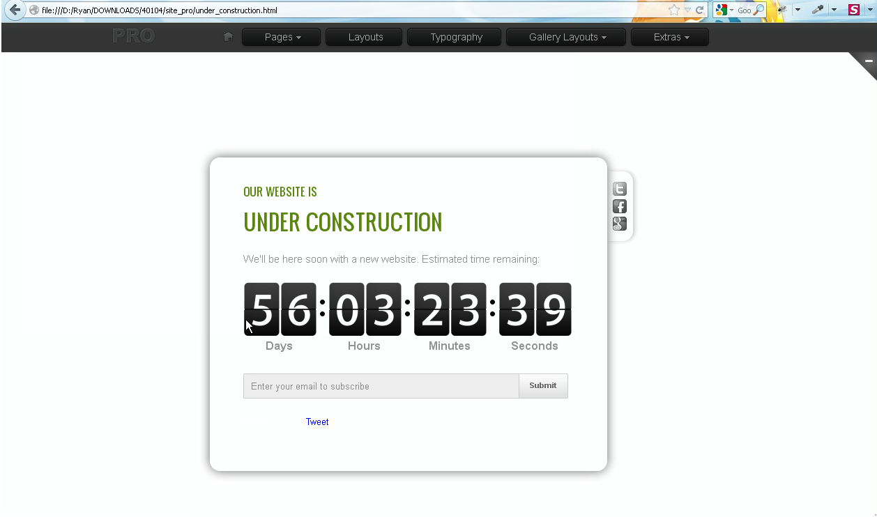 Js Animated Activating Countdown Script On Under Construction Page
