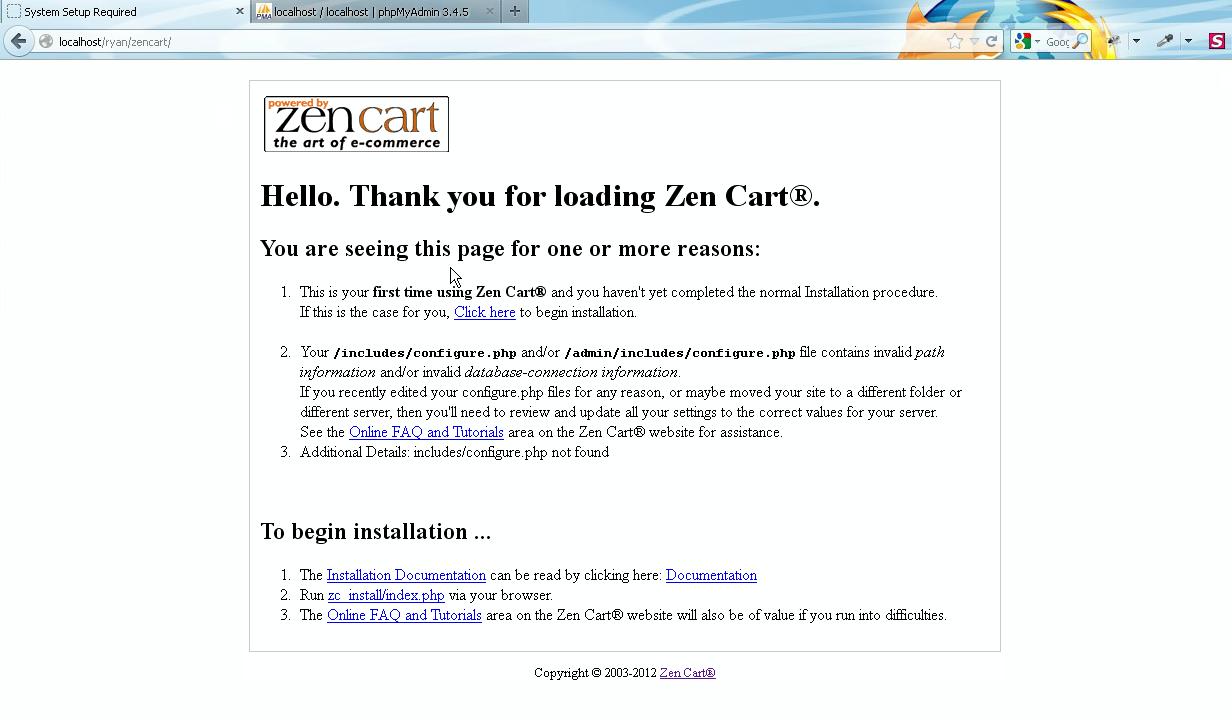 ZenCart. How to install ZenCart engine and template on localhost ...