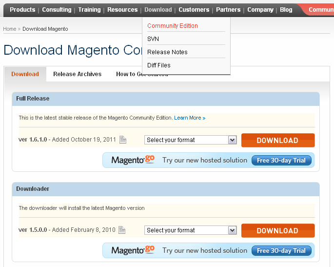 Magento quick start guide template for Magento community templates