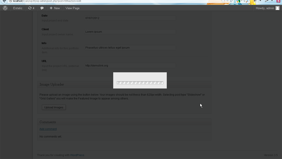 WordPress. How to fix Image Uploader issue - Template