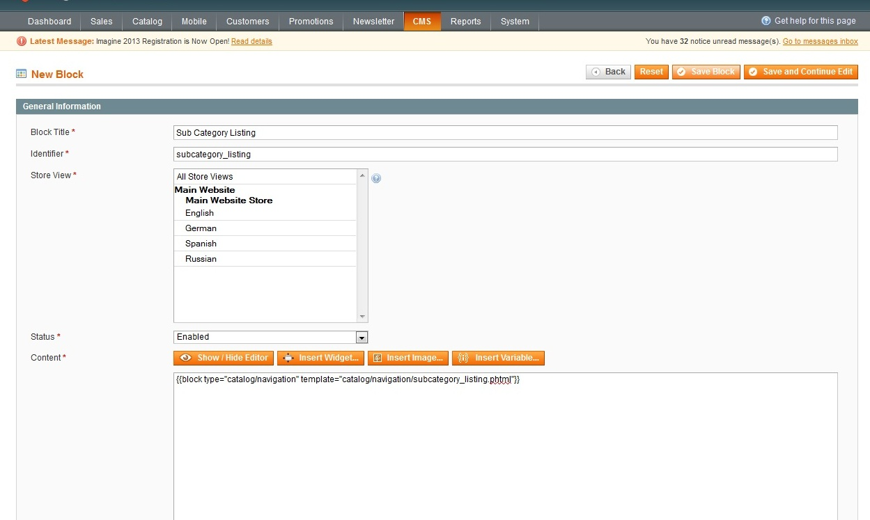 Magento Listing Sub Categories On A Category Page