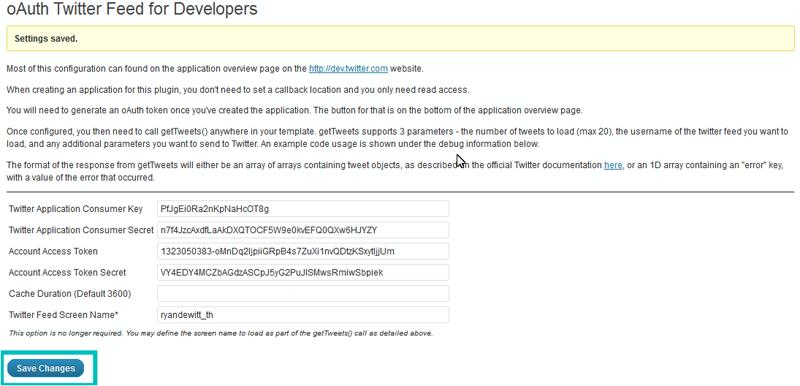 WordPress  How to activate Twitter widget (based on Twitter API 1 1