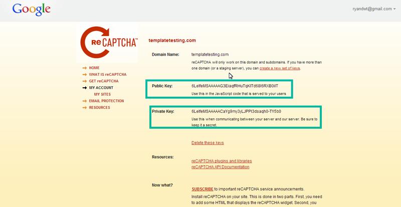 Joomla 3 x  How to configure captcha (recaptcha plugin) - Template