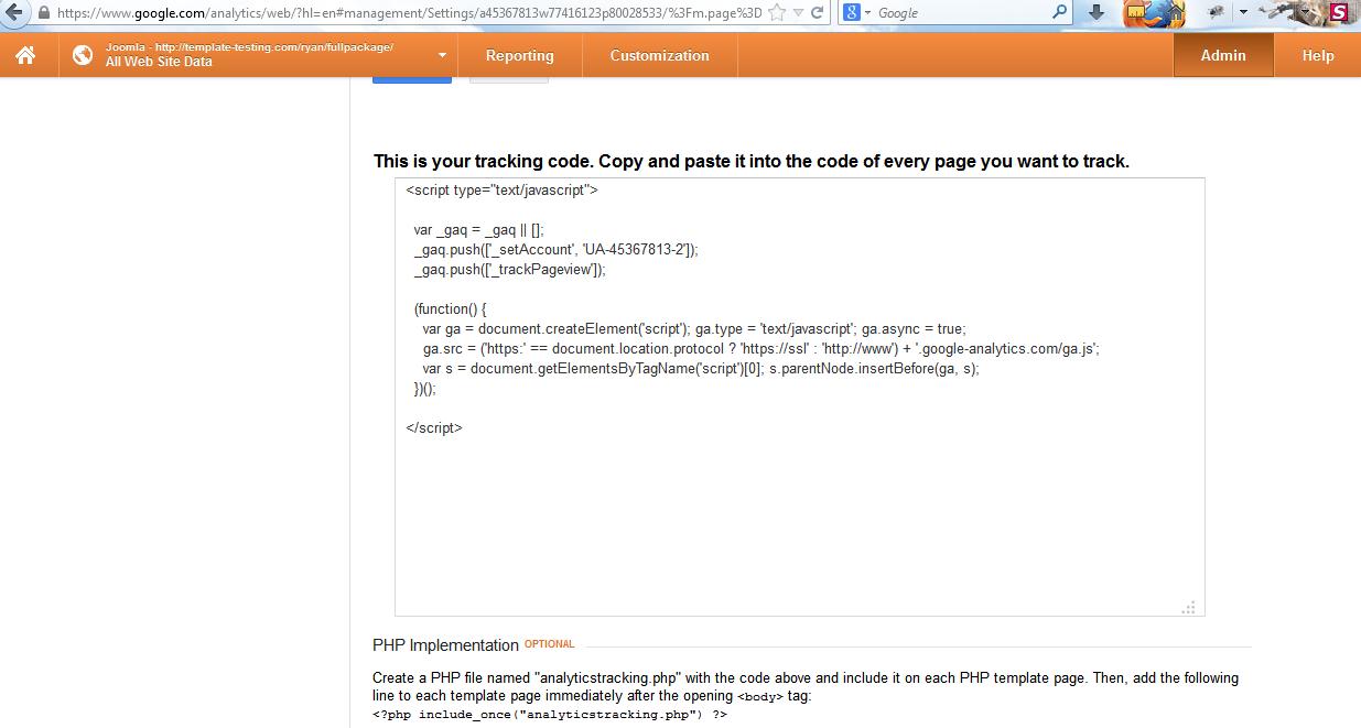 Joomla 2.5.x/Joomla 3.x. How to add Google Analytics tracking code ...