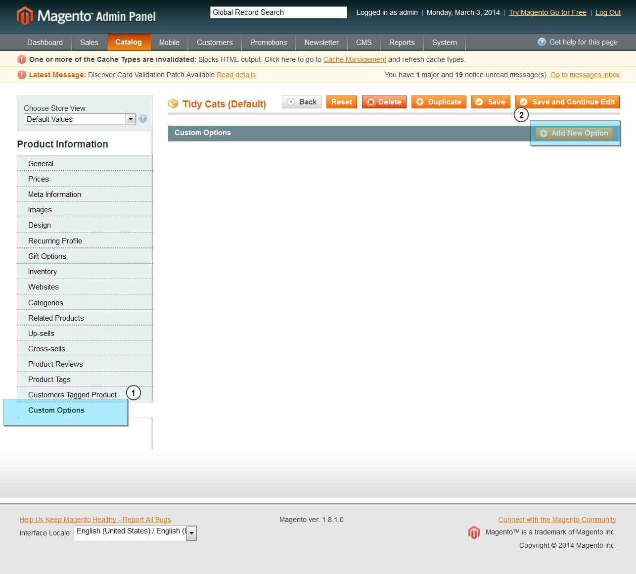 Magento. Wie erstellt man Benutzeroptionen des Produktes - Hilfe von ...