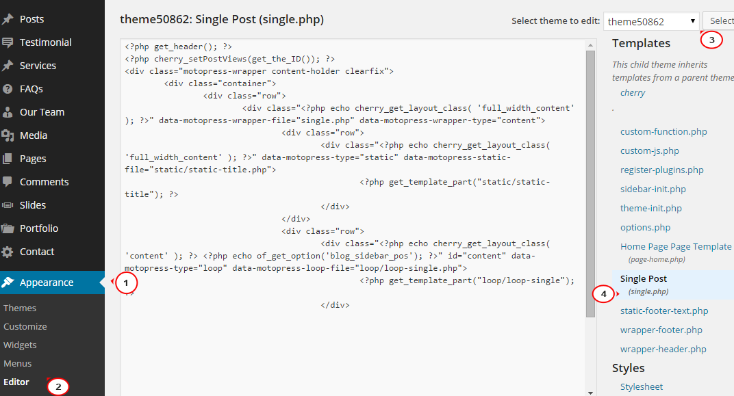 WordPress Cherry 3.x. How to remove sidebar from posts single pages ...