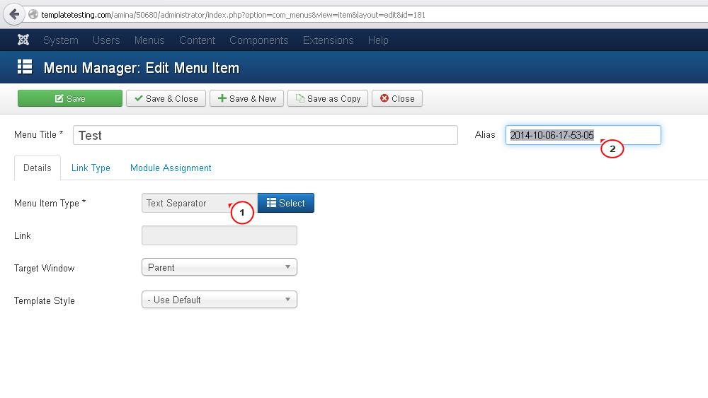 how to change the menu in joomla
