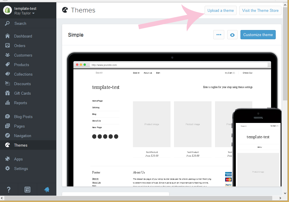 How to upload template (install) to Shopify - Template