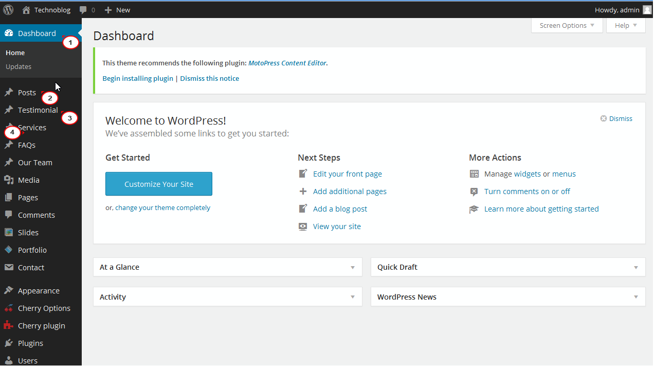WordPress  Changing the order of admin menu items - Template