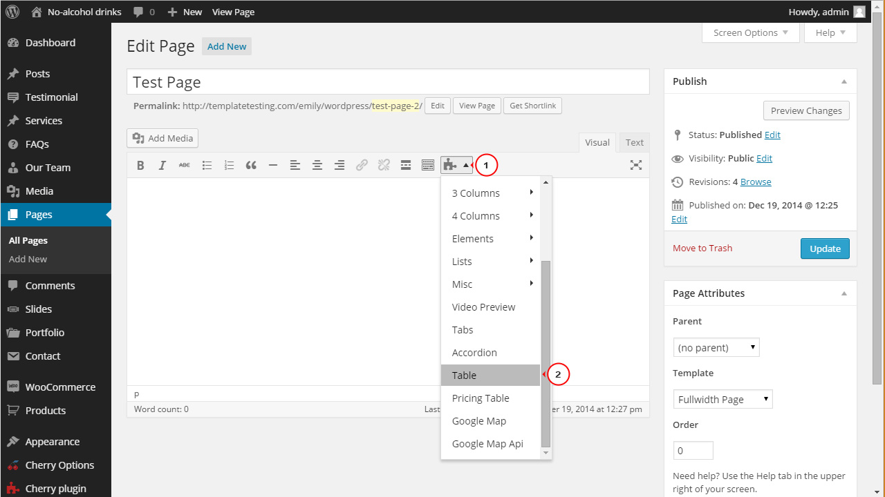 Wordpress how to add a table to a post page template for Table th value