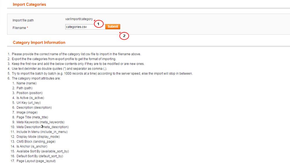 Magento c mo exportar importar datos en archivos csv for Magento csv import template