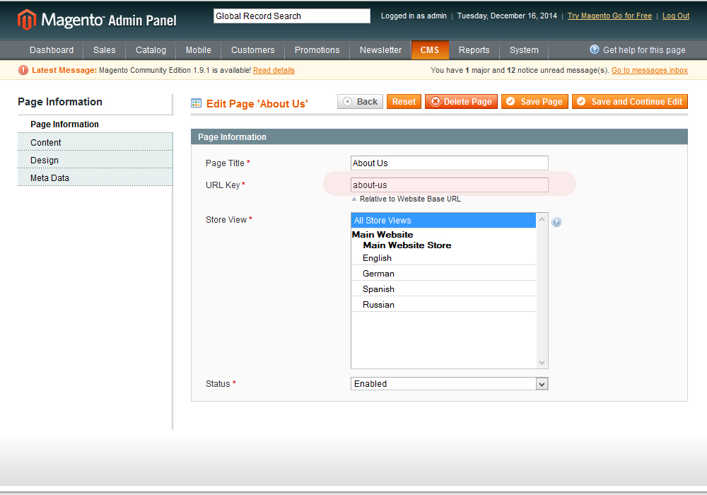 Magento cms pages multilingual dating