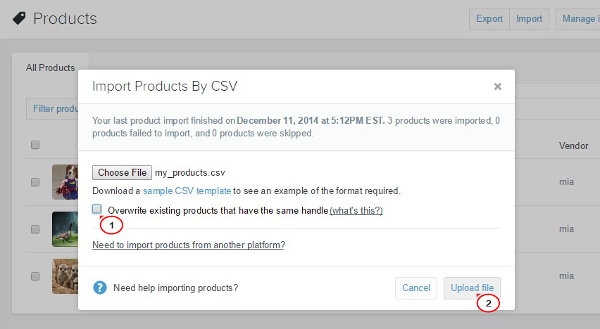 Shopify  How to import/export data in CSV files - Template