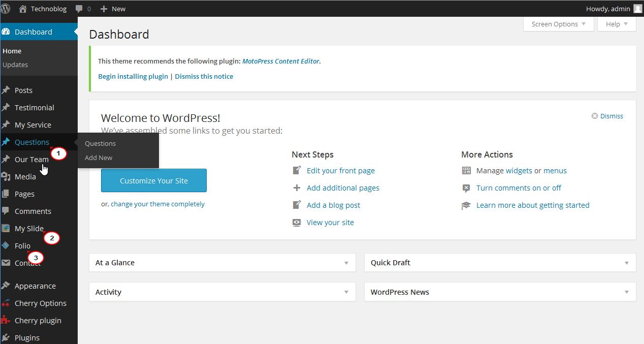 wordpress  how to rename dashboard menu items