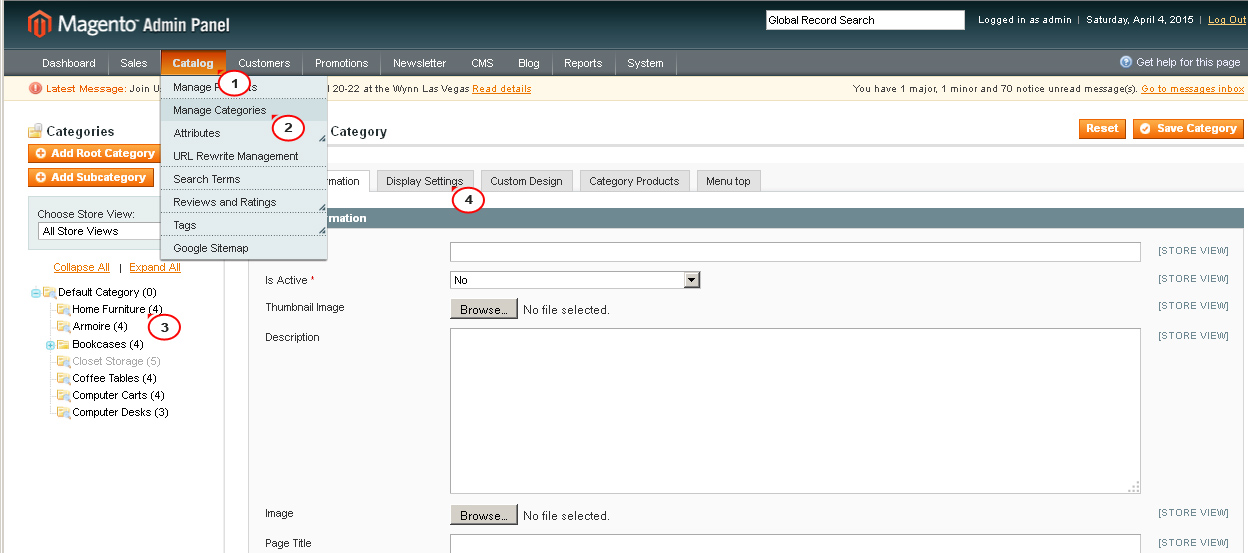 Magento  How to change default sort order for category