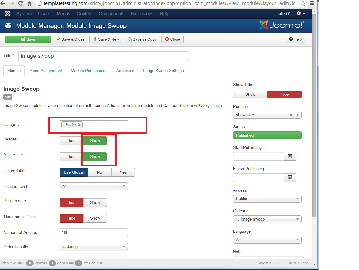 Joomla 3 x  How to set up and configure a slider - Template