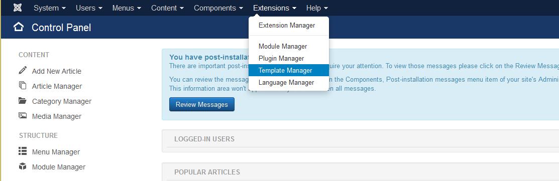 single page menu template