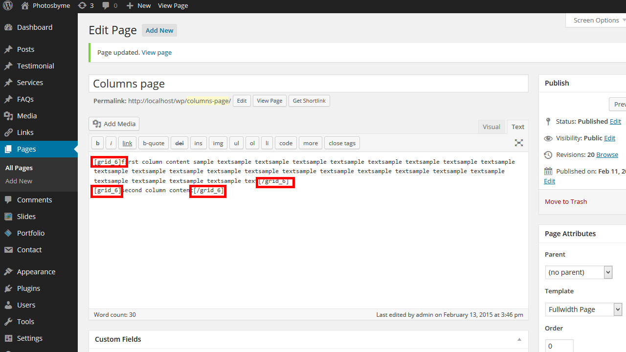 how to create 2 columns in wordpress without code