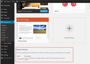 Wordpress. How to deal with 'Parent theme is missing. Please install the CherryFramework parent theme1
