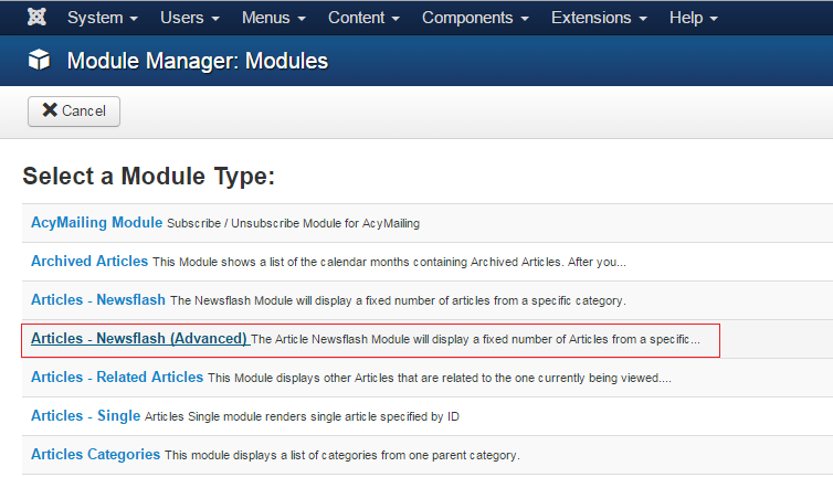 joomla module show latest article category