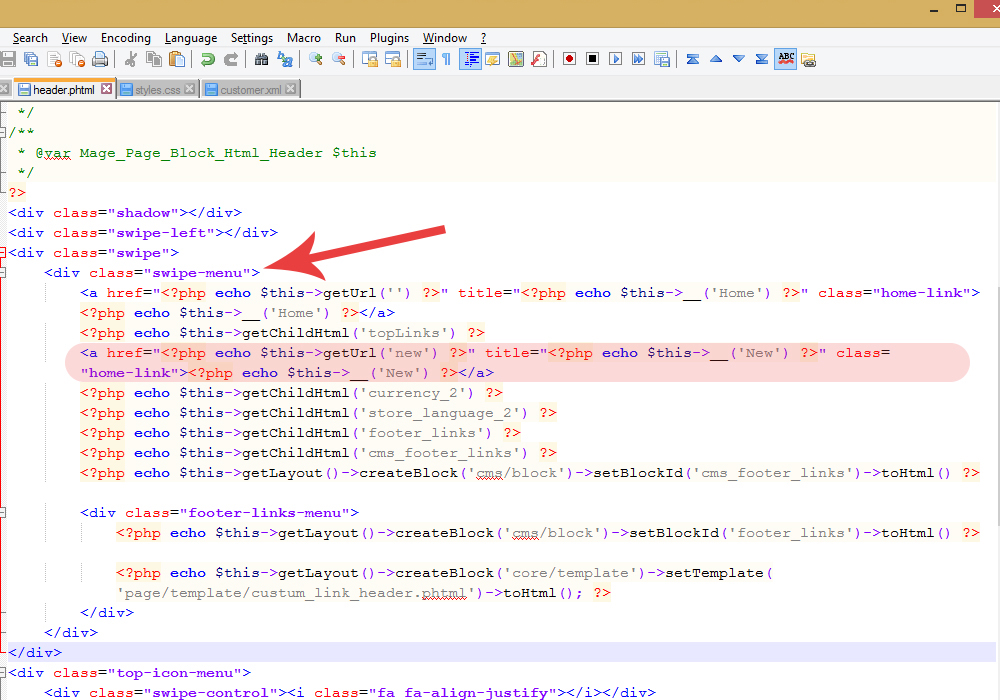 Magento  How to add a custom link to header links - Template