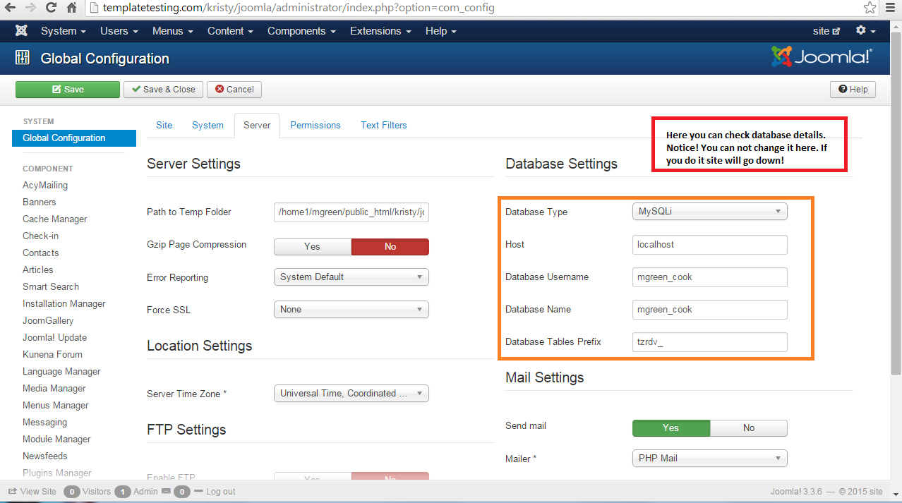 Screen1 Where Check Change Database Details