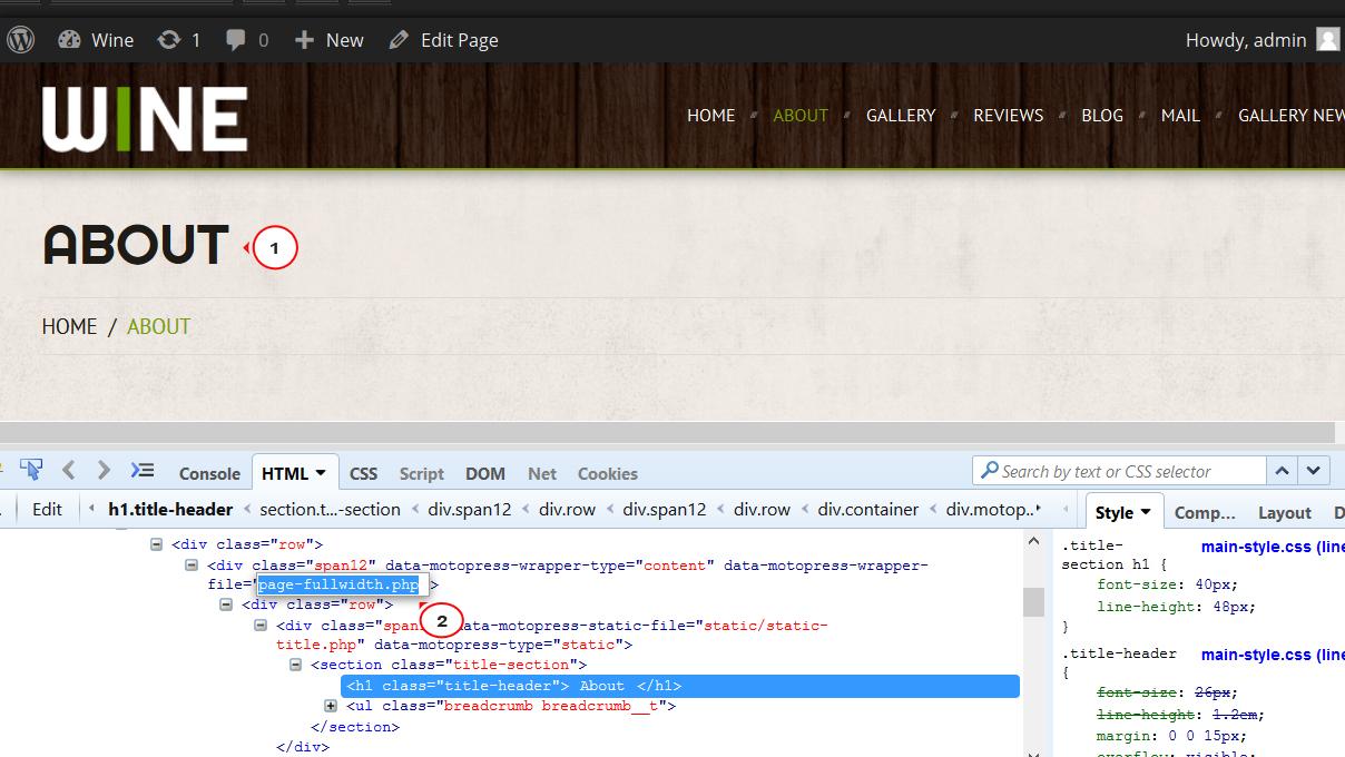 WordPress. Wie man den Slider auf den Innenseiten der Vorlage ...