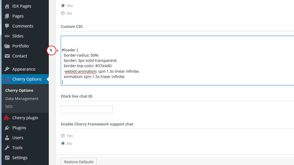 WordPress Cherry 3 x  How to change pages pre-loader