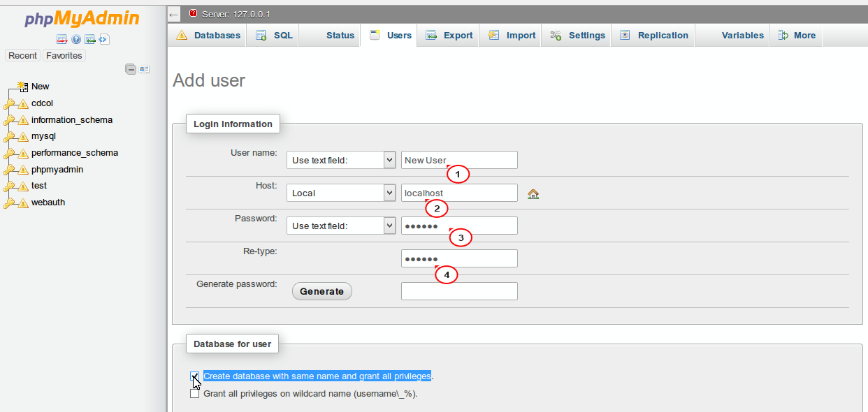 how to create database in phpmyadmin pdf
