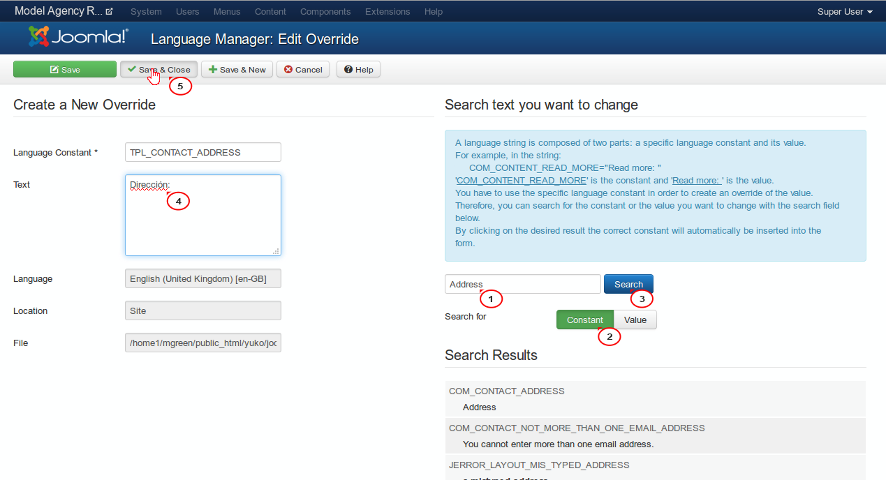Joomla 3.x How To Changetranslate Contact Form Fileds Titles (ADDRESS,  PHONES  Change Of Address Form Template