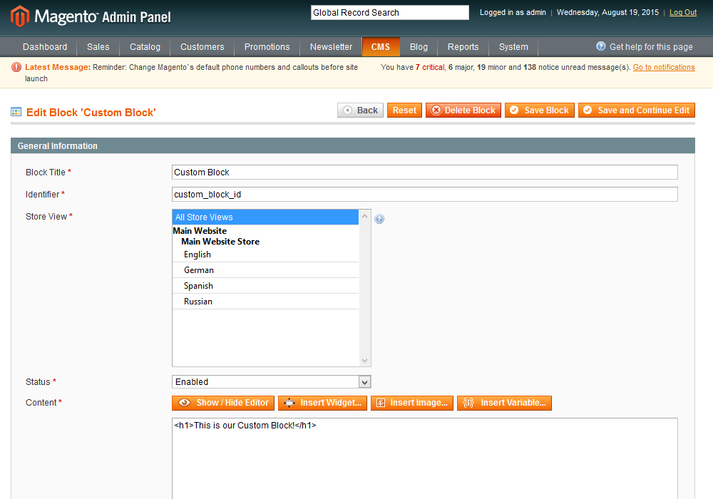 Magento. How to add a new static block to the header