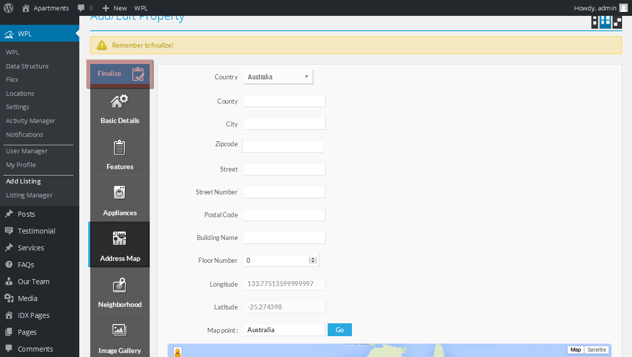WordPress. How to edit Google map on home page (based on