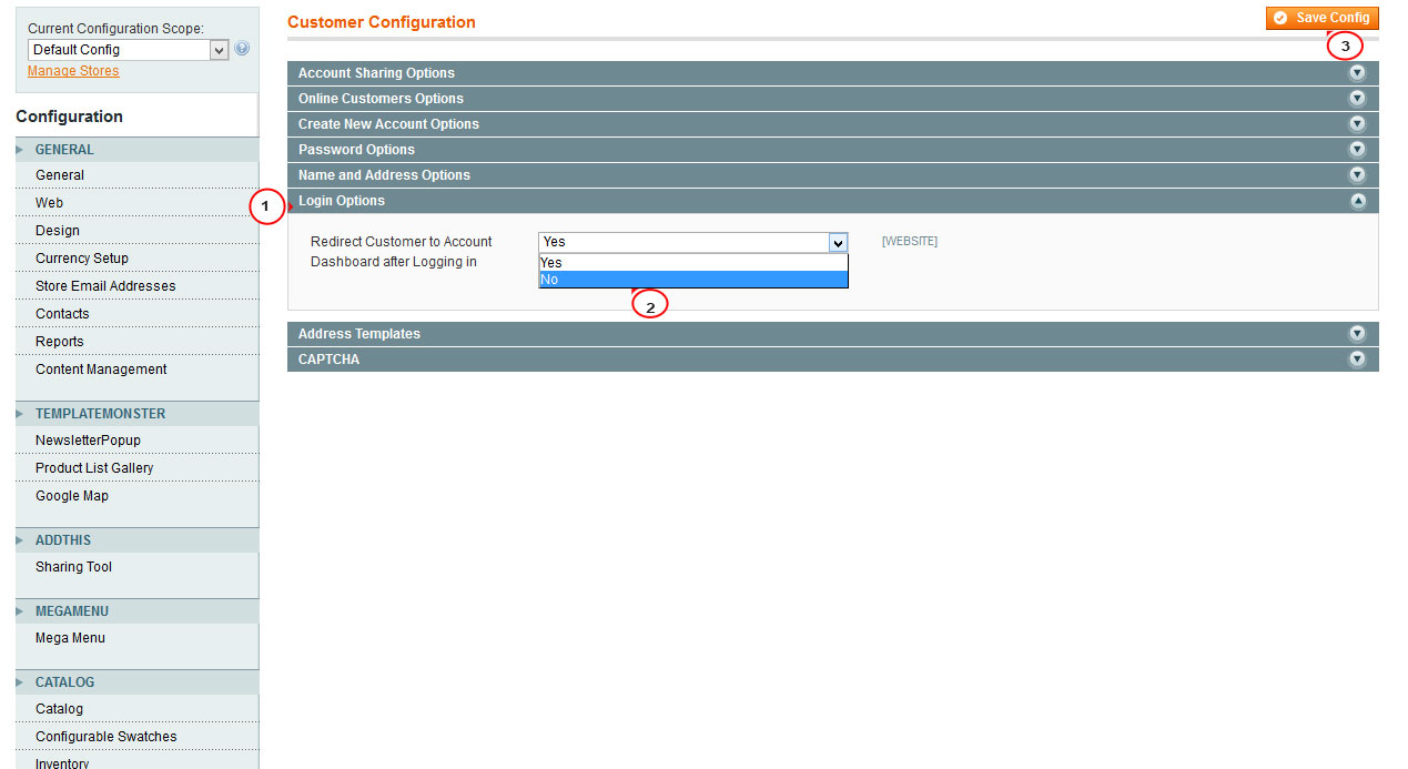 Magento how to enabledisable customer login redirect template magentohowtodisableandenable thecustomerloginredirect3 maxwellsz