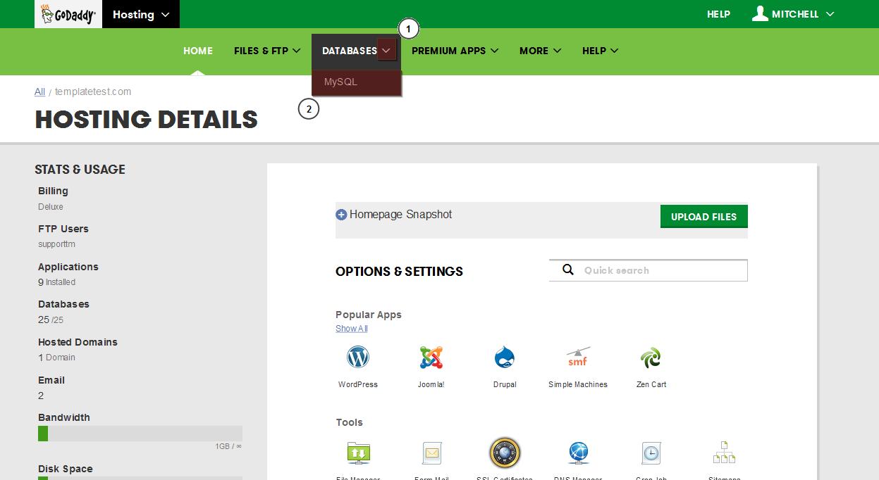 How To Back Up A Database With Godaddy Template Monster Help