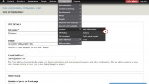 Drupal 7.x. How to change site name and slogan using admin panel configuration-1