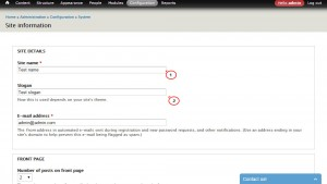 Drupal 7.x. How to change site name and slogan using admin panel configuration-2