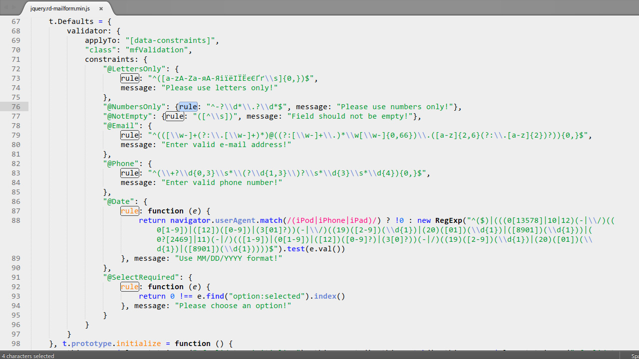 JS Animated. How to deal with validation of special characters in ...