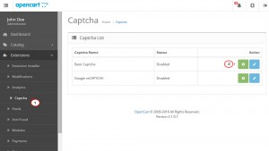 OpenCart 2.x. How to manage Captcha and reCAPTCHA-1