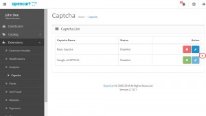 OpenCart 2.x. How to manage Captcha and reCAPTCHA-2