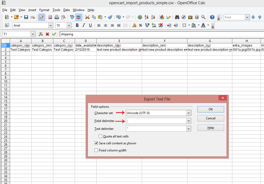 magento csv import template - opencart 2 x how to create csv file for products import