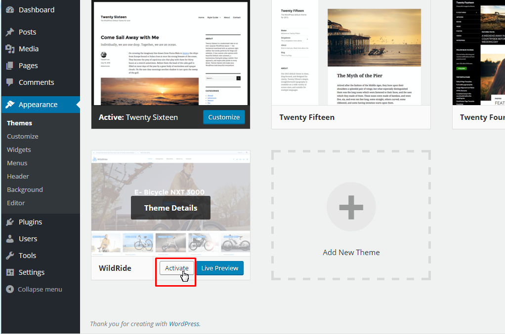 WordPress Blogging theme. How to install a theme manually - Template ...