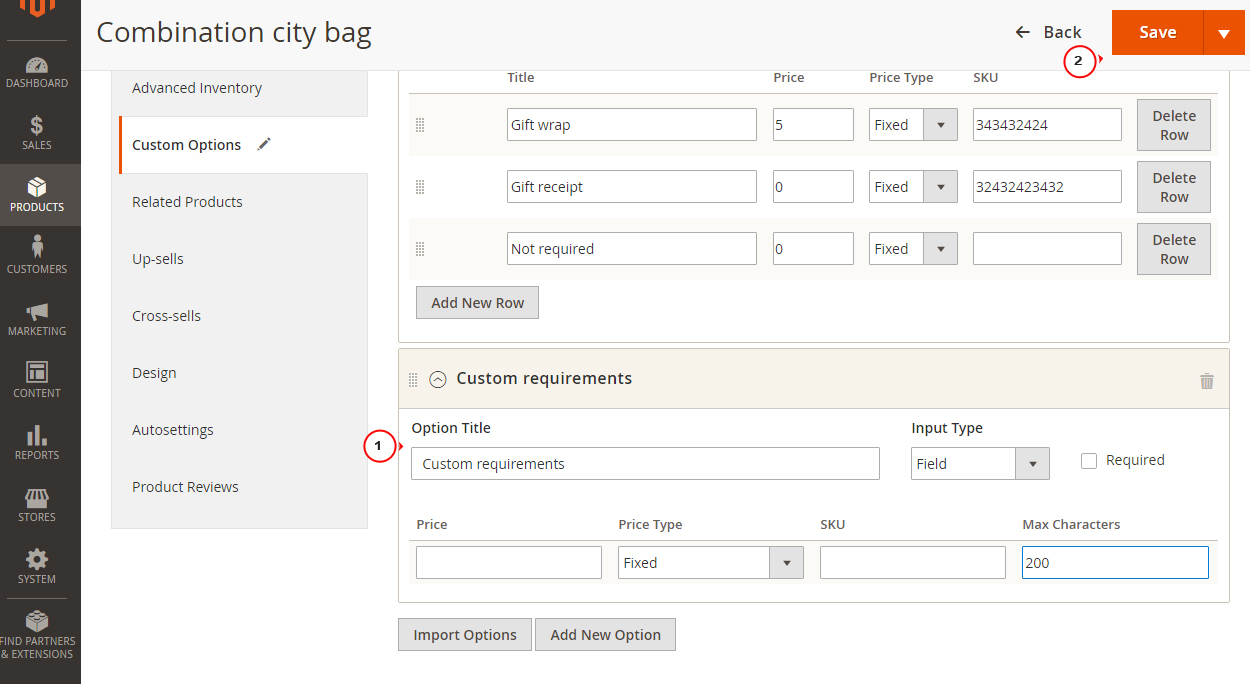 Magento 2 x  How to create Custom Options for product - Template