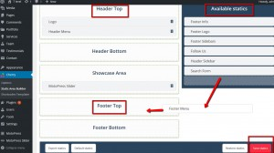 how to deal with missing header and footer menus on home page.3