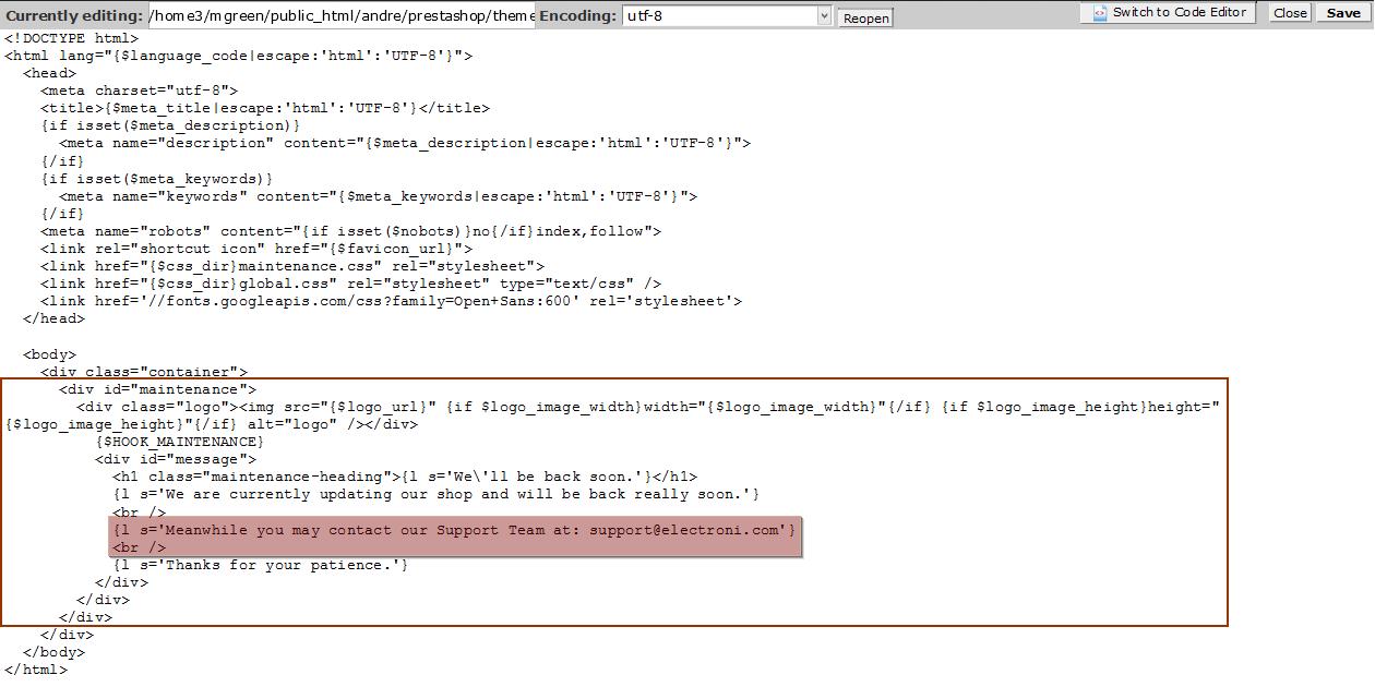 Prestashop 1 6 x  How to edit Maintenance page - Template Monster Help