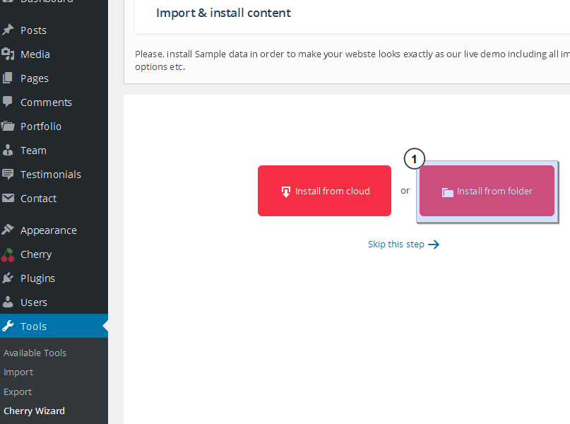 cherryframework 4 how to install the template over existing site