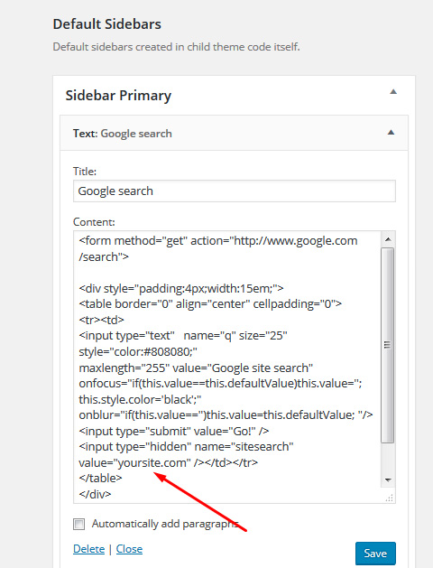 How to add a simple Google, Yahoo! Or Bing search box to